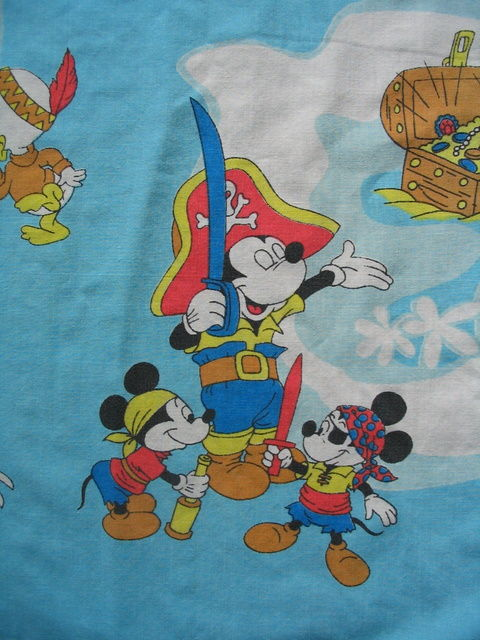 Vtg Disneyland Disney Flat Sheet Fabric Mickey Mouse Walt